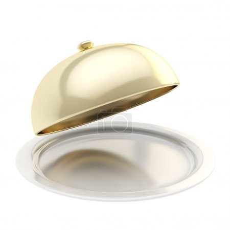 White ceramic salver with a golden food cover isolated