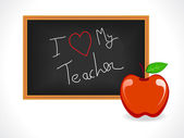 Teacher day greeting with a blackboard and apple vector illustration