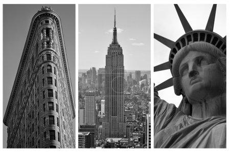 Photo pour NEW YORK - 5 SEPTEMBRE : Triptyque noir et blanc de New York avec le Flat Iron Building, l'Empire States Building et la Statue de la Liberté, monuments de la ville, sur - image libre de droit