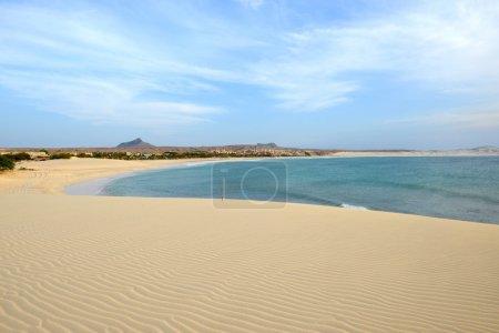 Photo pour Plage de Praia de Chaves à Boa Vista, Capo Verde, au coucher du soleil - image libre de droit