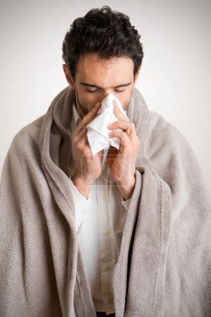 Sick Man Sneezing