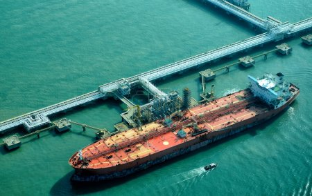 Oil Tanker at refinery plant