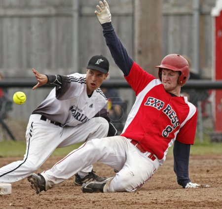 fastpitch softball men slide throw