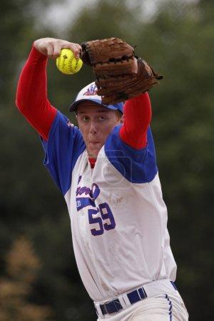 fastpitch softball men pitcher windup