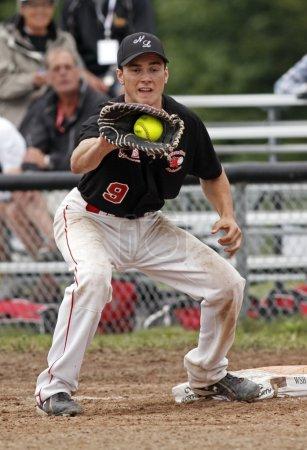 fastpitch softball men catch ball