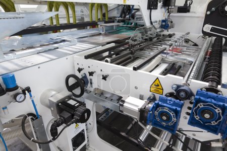 Detail of packaging machine for rolls...