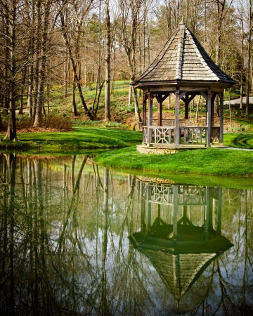 Gazebo in park setting in early spring
