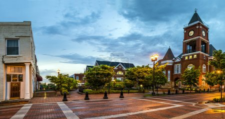 Photo for Panoramic view of town square in Dallas, Georgia, after sunset - Royalty Free Image