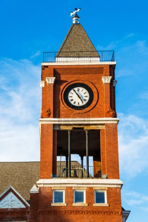 Clock tower of historic small town court house bui...