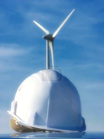 Helmet and wind turbine