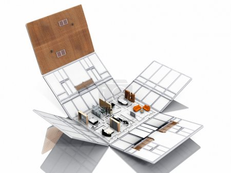 Photo pour Pliage de la maison avec meubles - image libre de droit