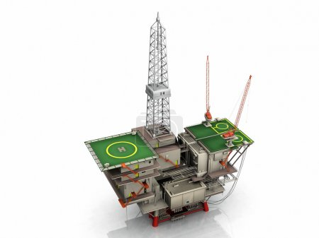 Photo pour La plate-forme pétrolière sur fond blanc - image libre de droit