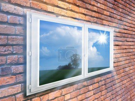 Photo pour Mur et fenêtre en brique - image libre de droit