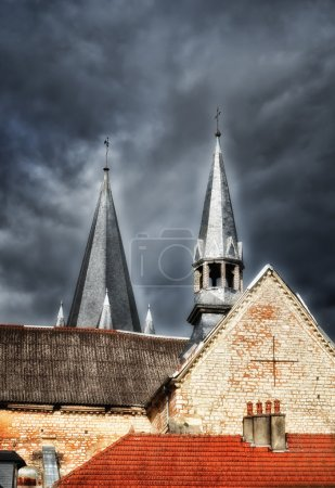 The church steeples...