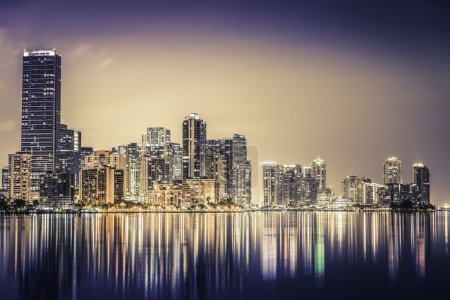 Photo for Miami downtown at night in South Florida - Royalty Free Image