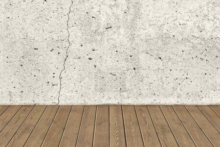 Foto de Crack concreto pared y piso de madera marrón - Imagen libre de derechos