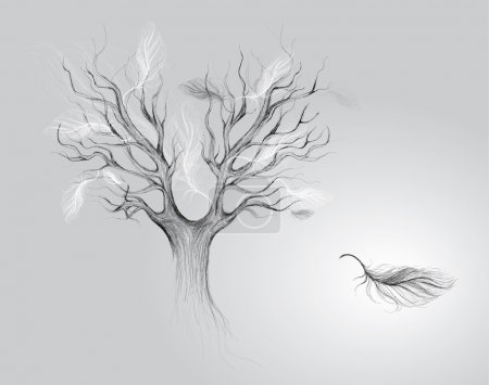 Illustration for Surreal vector sketch of Tree with falling feathers - Royalty Free Image