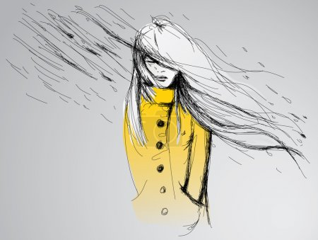 Illustration for Young woman in yellow trench coat - Royalty Free Image