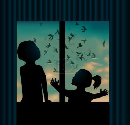 Children behind the window are watching birds