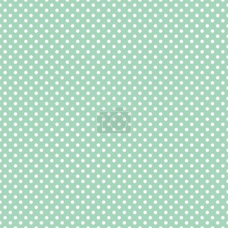 Illustration for Vector seamless pattern with small white polka dots on a retro mint green background. For cards, invitations, wedding or baby shower albums, backgrounds, arts and scrapbooks. - Royalty Free Image