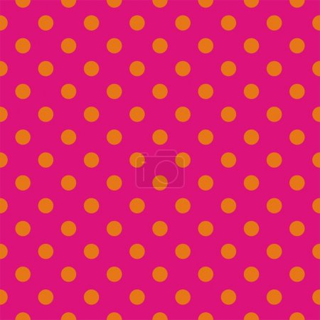 Illustration for Orange polka dots on neon pink background - seamless vector pattern for backgrounds, blogs, www, scrapbooks, party or baby shower invitations and wedding cards. - Royalty Free Image