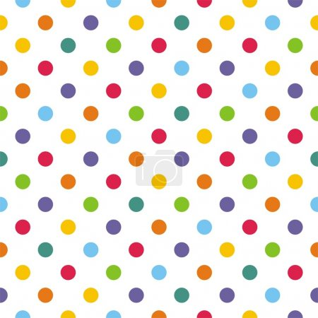 Illustration for Vector seamless pattern with corolful polka dots on white background for backgrounds, blogs, www, scrapbooks, party or baby shower invitations and elegant wedding cards. - Royalty Free Image