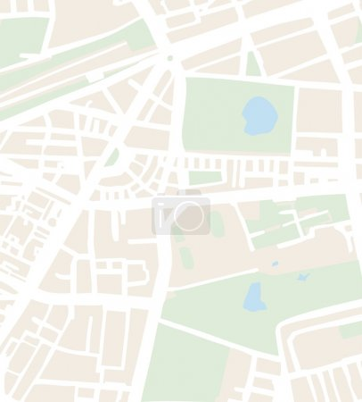 Illustration for Abstract city map vector illustration with white streets, beige buildings, green parks and blue pond. Simply town plan - Royalty Free Image