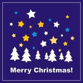 Navy blue vector background or card with Merry Christmas