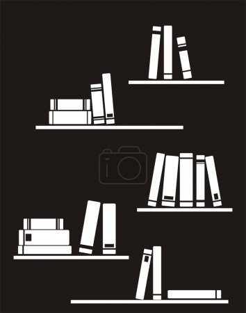 Vector vintage black and white illustration with books on the shelf