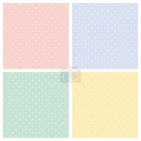 Vector seamless patterns, textures set - white polka dots on colorful background