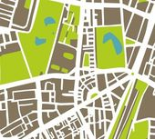 Abstract vector city map with white streets dark brown buildings green park and blue ponds Simply draft town plan illustration