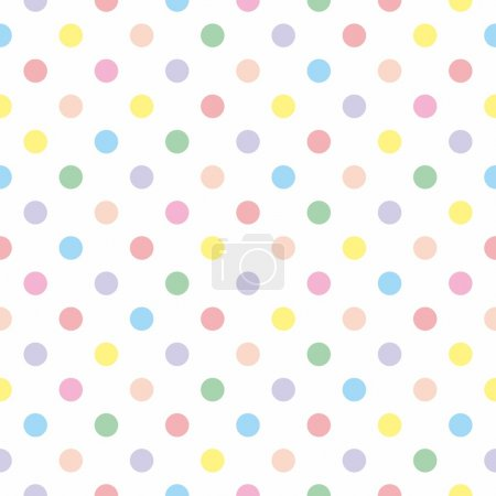 Illustration for Seamless vector pattern or texture with colorful pink, yellow, green and violet polka dots on white background. For cards, invitations, websites, desktop, baby shower card background, party, web design, arts and scrapbooks. - Royalty Free Image