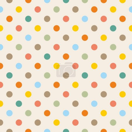Seamless vector pattern or texture with colorful yellow, orange, pink, green and blue polka dots on beige background