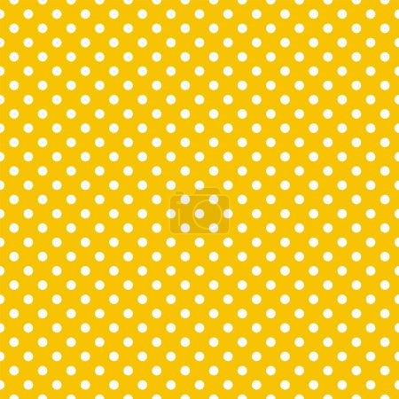 Illustration for Seamless vector pattern with white polka dots on a sunny yellow background. For cards, invitations, wedding or baby shower albums, backgrounds, arts and scrapbooks. - Royalty Free Image