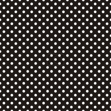 Seamless vector dark pattern with white polka dots on black background.