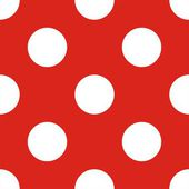 Vector retro seamless pattern or texture with huge white polka dots on red background