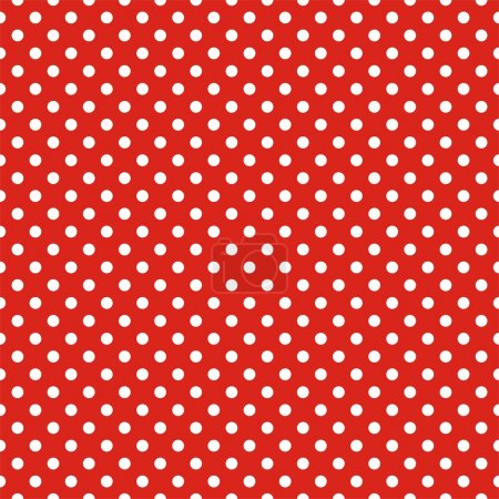 Illustration for Retro seamless vector pattern with white polka dots on red background - retro texture for christmas background, blogs, www, scrapbooks, party or baby shower invitations and wedding cards. - Royalty Free Image