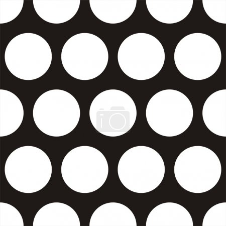 Illustration for Seamless vector dark pattern with big white polka dots on black background. For web design, blog, desktop wallpaper, texture. - Royalty Free Image
