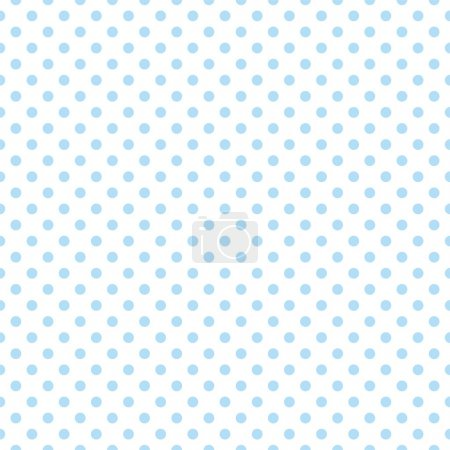 Illustration for Seamless vector pattern, texture or background with cool light blue polka dots on white background for web design, desktop wallpaper, winter blog, website or invitation card. - Royalty Free Image