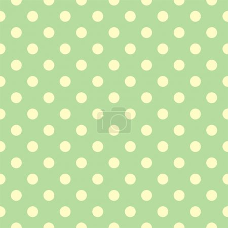 Illustration for Seamless vector spring or summer fresh pattern with yellow polka dots on a retro vintage light green background. For desktop wallpaper, web design, cards, invitations, wedding or baby shower albums, backgrounds, arts and scrapbooks - Royalty Free Image
