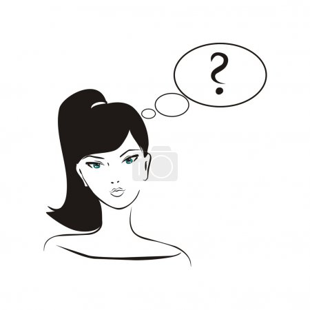 Vector illustration of asking girl. Young, hand drawn in simply glamour design style, thinking girl with black hair and question mark in bubble speech.