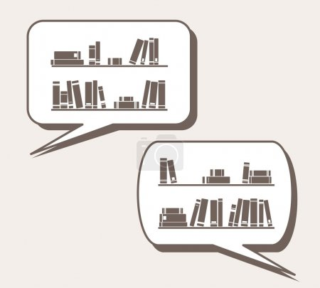 Conversation about knowledge, library, learning - books on the shelves simply retro cartoon vector illustration in speech bubble balloon. Talking or thinking about books and reading