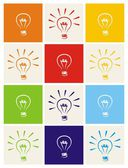 Light bulb vector icon set - hand drawn colorful sketch collection isolated on white with green blue dark denim beige red orange and yellow background