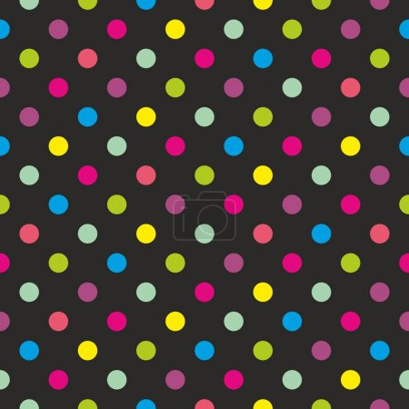 Seamless dark vector pattern or texture with colorful green, yellow, blue, pink and violet polka dots on black background.