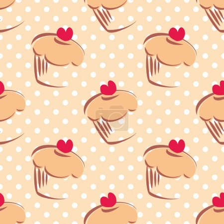Illustration for Seamless vector pattern or texture with cupcakes, muffins, sweet cake with red heart on top and white polka dots on beige background with sweets for desktop wallpaper or culinary blog website - Royalty Free Image