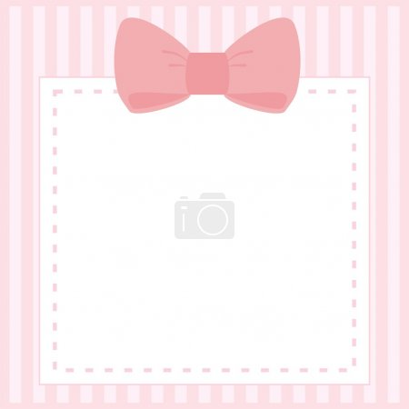 Vector card or invitation for baby shower, wedding or birthday party with stripes and sweet bow on cute pink background with white space to put your own text.