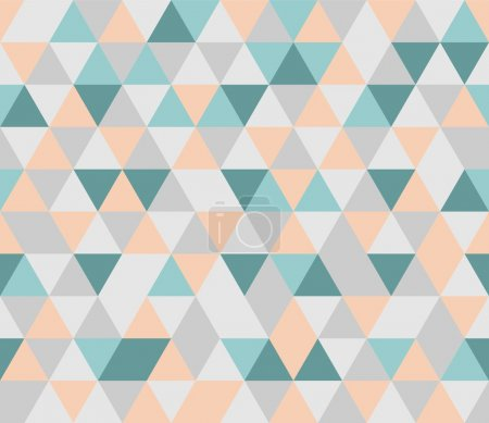 Colorful tile vector background illustration. Grey, orange, pink and mint green triangle geometric mosaic card document template or seamless pattern. Hipster flat surface chevron zigzag print design