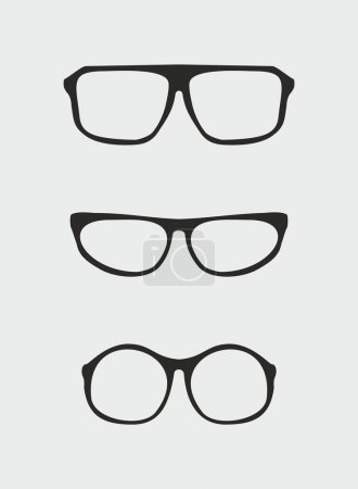 Glasses vector set with black holder retro hipster object isolated on grey background.