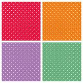 Vector set with sweet tile patterns with white polka dots on pastel colorful summer background