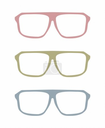 Colorful vector glasses set with pink, green and blue holder object isolated on white background.
